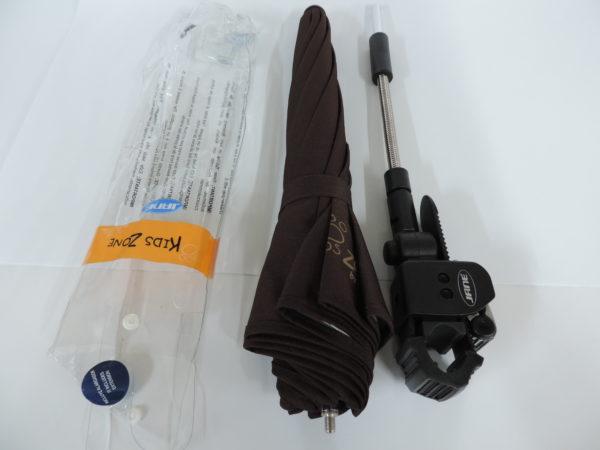Sombrilla de jane en color negro Anti-UVA varilla de fibra de vidrio y remates ocultos para mayor seguridad 2 puntos de flexión incluye una extension de 7 cm en el pack el pack comprende sombrilla flexo desmontable y prolongador